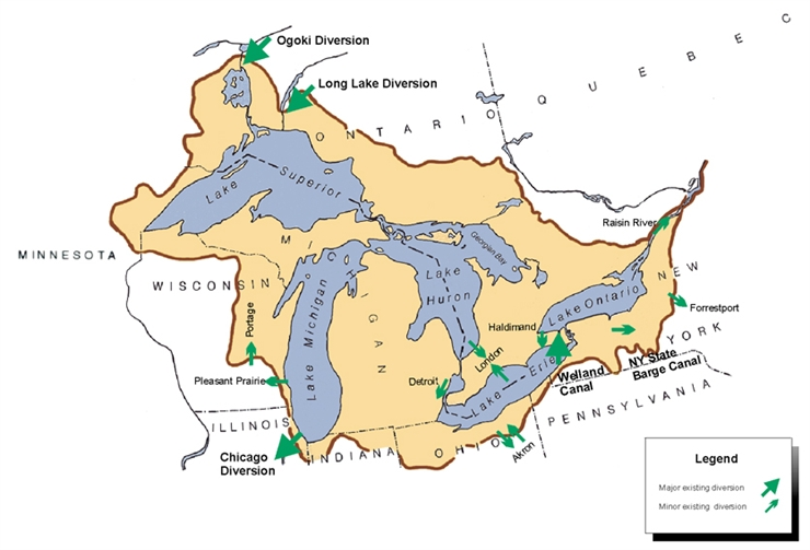 Great Lakes Water Use And Diversions Tip Of The Mitt Watershed - Us map with great lakes