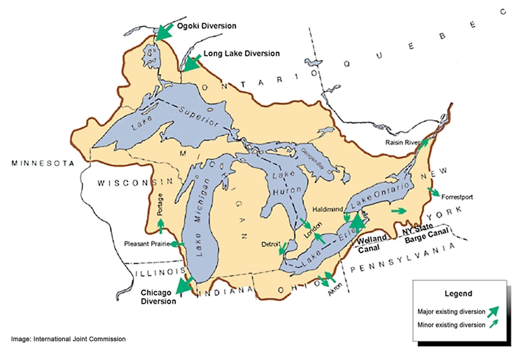 Influences On Great Lakes Water Levels Tip Of The Mitt Watershed - Map os us and great lakes
