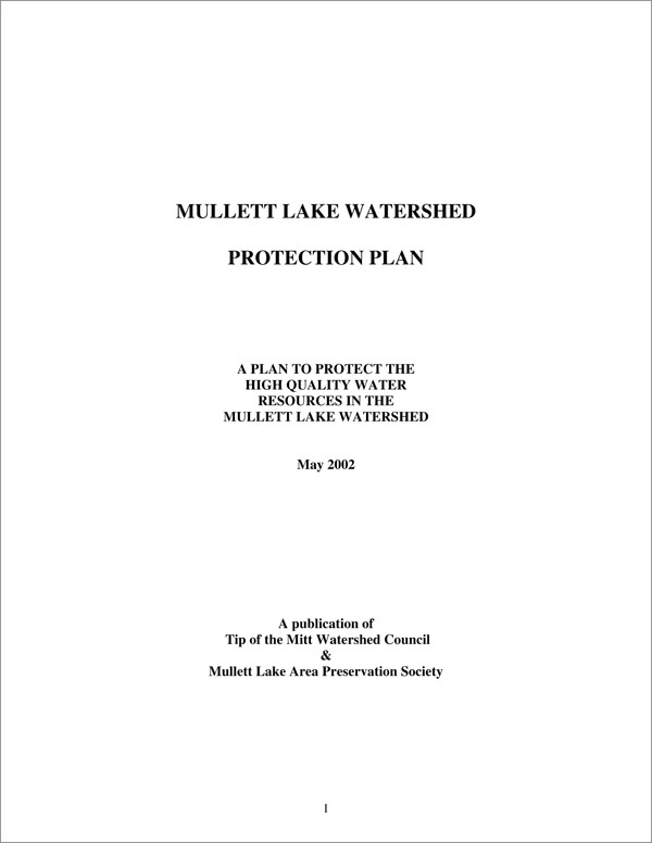 Mullett Lake WMP - Tip of the Mitt Watershed Council